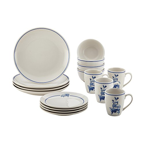 Salad Plate Country Blue (Paula Deen 46795 Stoneware Dinnerware Set, Large, Off- Off-White)