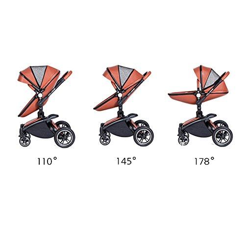 SpringBuds Shock-resistant Luxury High Landscape Folding Aluminum Alloy Frame Baby Stroller Infant Toddler Seat and Bassinet Combo-White by Springbuds (Image #3)