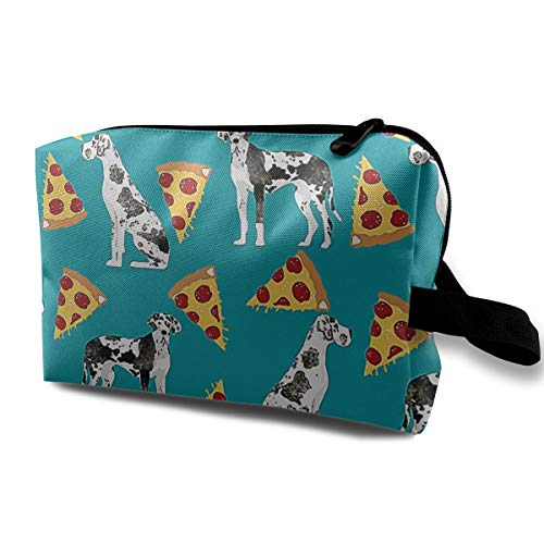 NEPower Great Dane Pizza Women's Cosmetic Bags Small Makeup Clutch Pouch Cosmetic And Toiletries Organizer Bag For Travel