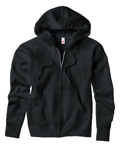 Hanes Women's Raglan Sleeves Full-Zippered Cotton Hoody - BLACK - XX-Large