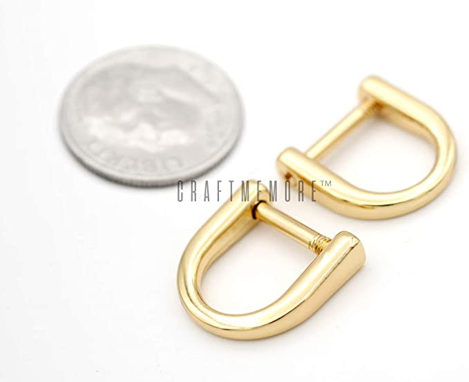 Small 12.5 mm D-Ring 38 Inch D Ring 2 mm Gauge .375 Handbag Purse Making Hardware Supplies RNG-AA123 Shiny Brass Finish 36 Pieces