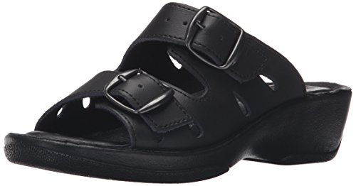 Spring Step Leather Sandal Slide Black Women's Decca rvzfrq