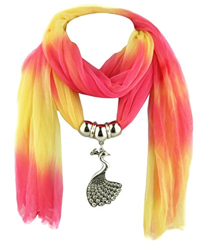 Jemis Women' s Fashion Colorful Peacock Jewelry Scarf 70*16 Inch Red -
