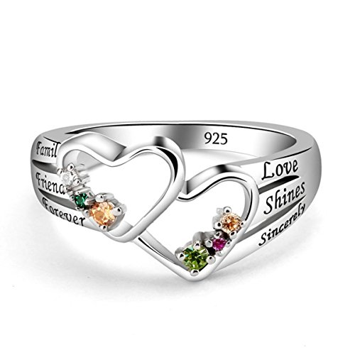 Quiges Silver Mothers 6 CZ Birthstone Personalized Engraved Name Double Heart Open Cut Custom Ring 11.5 by Quiges