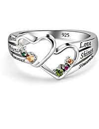 925 Sterling Silver Mothers Birthstone Custom Personalized Engraved Name Double Heart Ring