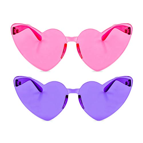 One Piece Heart Shaped Rimless Sunglasses Transparent Candy Color Eyewear(Purplr+Pink)]()