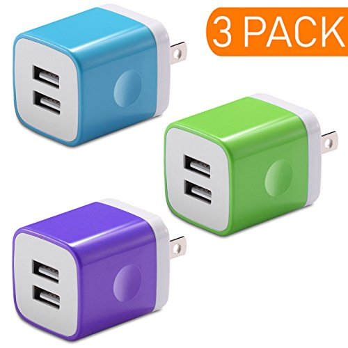 Charger, Certified Dual USB Ports Power Portable Adapter 2.1A / 10W Travel Wall Charger for iPhone 7 6S SE, iPad Air Mini, Samsung Galaxy Note, Tablets and Most USB Device (Random Color)