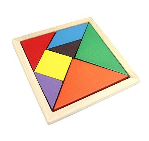 Wooden Tangram 7 Piece Puzzle Square Iq Game Brain Teaser In