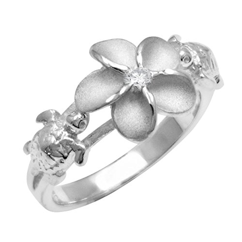Honolulu Jewelry Company Sterling Silver Plumeria and Turtle Ring with Clear CZ and Satin Finish, Size 6.5