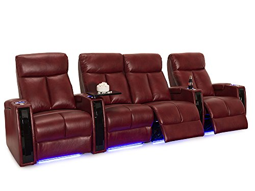 Seatcraft Seville Leather Gel Home Theater Seating Power Recline with SoundShaker (Row of 4 with Middle Loveseat, Scarlet)