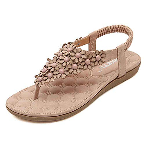 YANG-YI Women Sweet Summer Bohemia Beaded Clip Toe Beach Sandals (Pink, US-7)