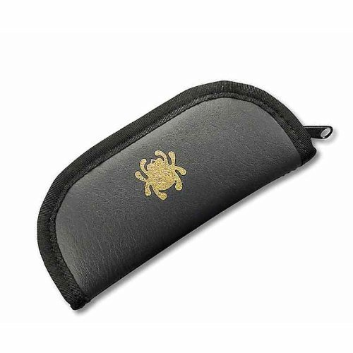 Cheap Spyderco Zipper Travel Case Large Black Mock-Leather Made Plush Foam Padding Inside