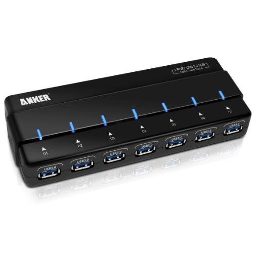 Anker® Uspeed USB 3.0 7 Port Hub mit 12V 3A Netzteil / Stromanschluss und USB 3.0 Kabel [VIA VL812 Chipsatz]