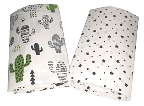 (Handywa - Purely Cotton Fitted Crib Sheet Set - Cactuses and Black Stars on White - Soft, Breathable Poplin for Baby Boys (2)