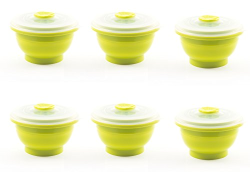 Collapse-it Silicone Food Storage Containers, 6-piece Round Set - 1 Cup Size - Oven, Microwave and Freezer Safe