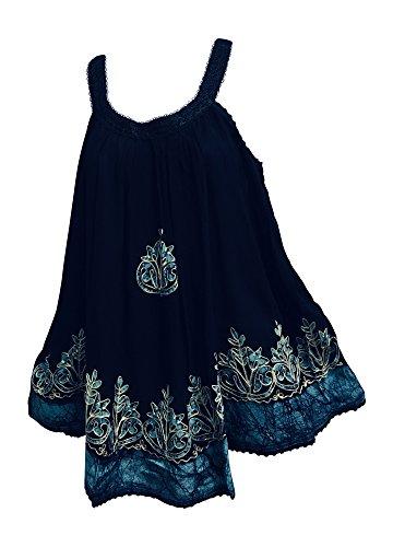 Navy Batik - Yoga Trendz Missy & Plus Indian Bohemian Embroidered Gauze Sleeveless Cami Tank Top Blouse (No24 Navy Batik)