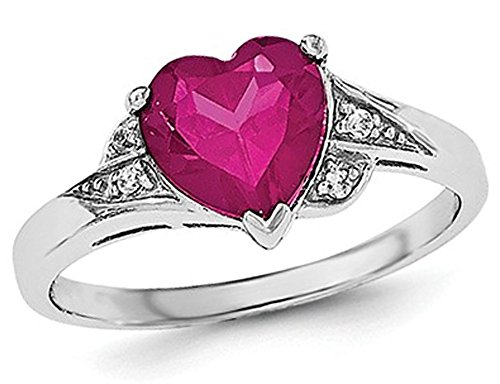 Synthetic Created Ruby Heart Promise Ring in Sterling Silver