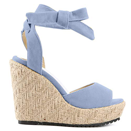 Womens Lace up Platform Wedges Sandals Classic Open Toe Ankle Strap Shoes Espadrille Sandals Blue by sweetnice Women Shoes (Image #5)