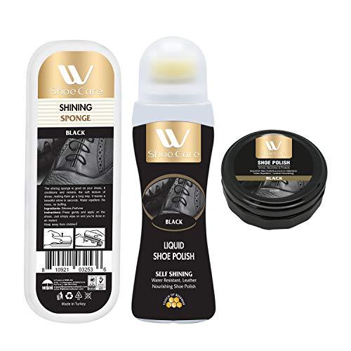 - Shoe Care Kit Shining Sponge and Shoe Polish, Black