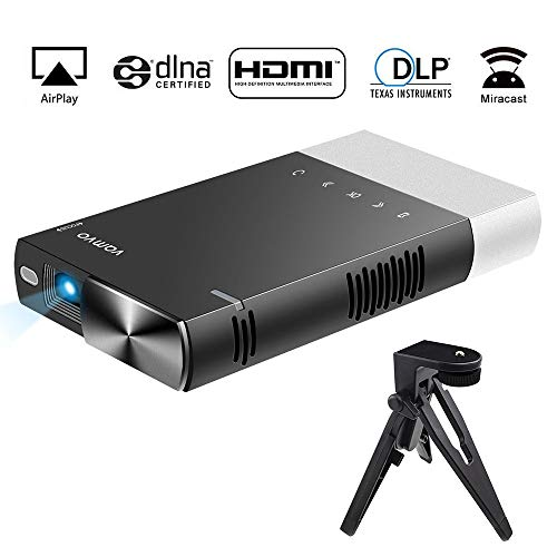 Vamvo Ultra Mini Portable Projector 1080p HD LED Rechargeable Pico Projector with HDMI, USB, TF, and Micro SD Supports iPhone Android Laptop PC Audio Projectors for Outdoor Travelling Business ()