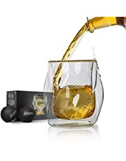 James Bentley Whiskey Glasses set + FREE Ice Ball Molds for whisky glasses set, Tumblers for Drinking Scotch, bourbon, Luxury Gift Set