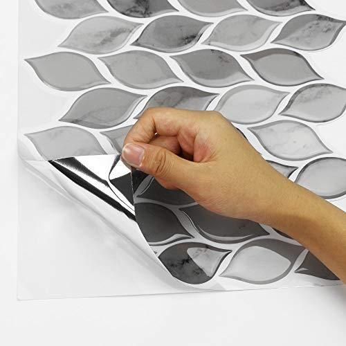 Tic Tac Tiles - Premium Anti Mold Peel and Stick Wall Tile Backsplash in Foglia Design (Grigio, 6) by Tic Tac Tiles (Image #3)