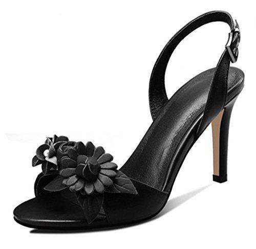 De Punta Black Leather Summer Flower Moda Zapatos Baile ZLIDS Fiesta Stiletto Blanco Srta De Redonda Stereo Rojo Sandals Negro Yxw7n0