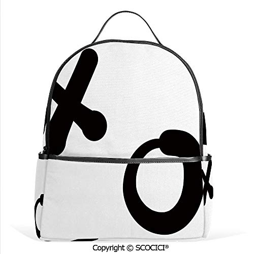 Casual Fashion Backpack Love and Expression Letters Symbolic Icons Simplistic Art Pattern Decorative,Black White,Mini Daypack for Women & Girls ()