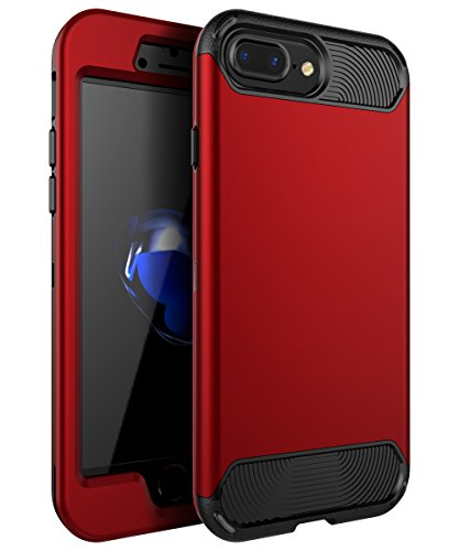 iPhone 7 Plus Case,iPhone 8 Plus Case,KAKA[Heavy Duty]Three Layer Hybrid Sturdy Armor High Impact Resistant Protective Cover Case For iPhone 7 Plus/8 Plus(Only For 5.5),Red/Black