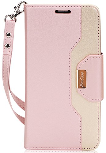 Huawei Mate SE Wallet Case, Huawei Honor 7X Case, ProCase Folding Flip Case with Card Holders Mirror Wristlet, Folder Stand Folio Case Cover for Huawei Mate SE Honor 7X -Pink
