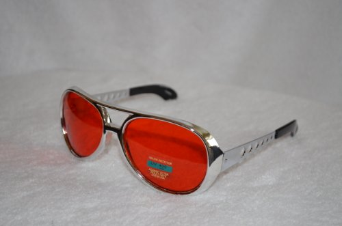 Red Elvis Sunglasses with Silver Frame - Aviator - Sun Elvis Glasses