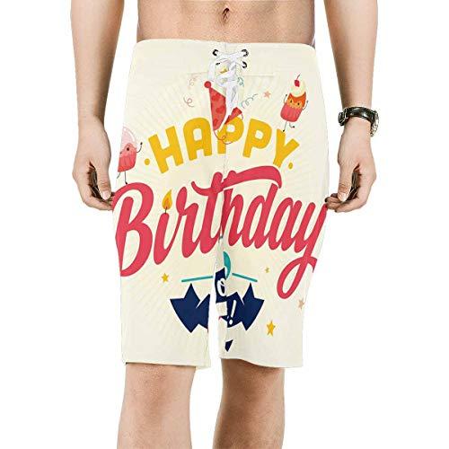INTERESTPRINT Men's Board Water Shorts Cute Birthday Pattern Swimwear Board Shorts M -