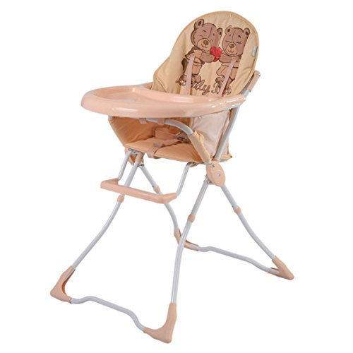 Tan steel+ plastic+ cotton Baby Highchairs With Ebook