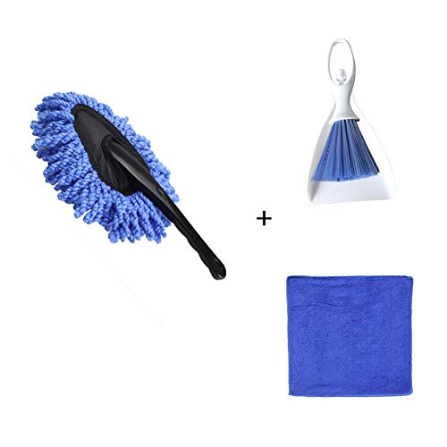 Dust Free Duster - Meirun Car Duster Multi-Functional Duster Set, Dusting Tool with Mini Dustpan, Dust Brush & Microfiber Cleaning Cloth (Blue, Pack of 3)