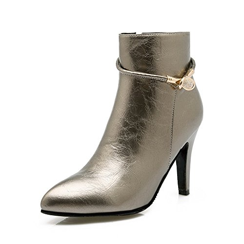 AdeeSu Ladies European Style Stiletto Solid Imitated Leather Boots Silver