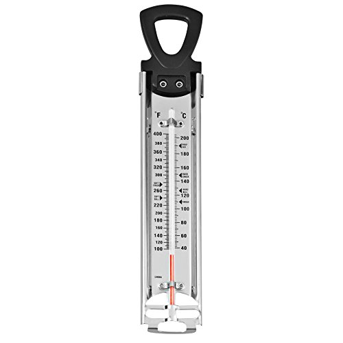 """Wilton Candy Thermometer, Ideal for Precisely Measuring Temperature of Hard Candy, Nougat, or Fudge Mixtures, Clamps to Side of Pan for Accurate Readings, Metal (14.7"""" Long)"""