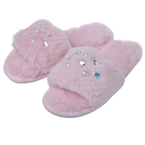 Pink Slip Slipper Faux Fur Flop Women's Slide Flat Festooning Clog Beads on Flip Soft gYwq7ffA
