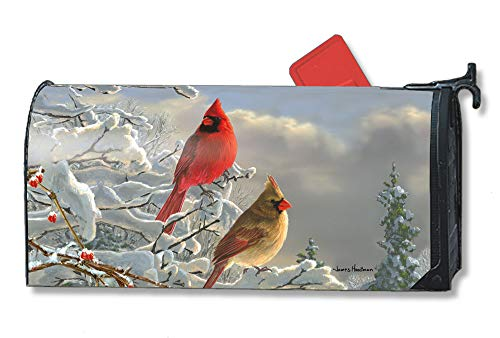 MailWraps Studio M Winter Cardinals Decorative, The Original Magnetic Mailbox Cover, Made in USA, Superior Weather Durability, Standard Size fits 6.5W x 19L Inch Mailbox