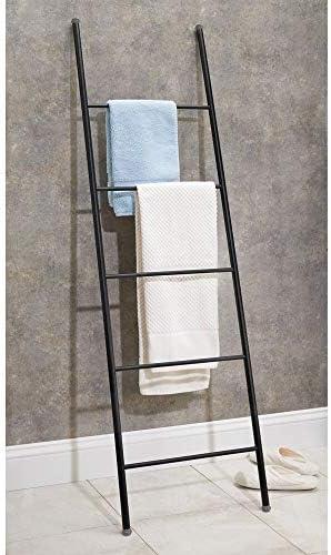 mDesign Toallero escalera – Práctico colgador de toallas con 5 barras para secar todo tipo de paños y toallas – Moderno toallero de pie para colocar sin taladrar ni agujerear – negro