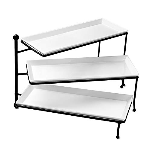 Sweese 3313 3 Tiered Serving Stand/Foldable Rectangular Food Display Stand with White Porcelain Platters - Serving Trays for -