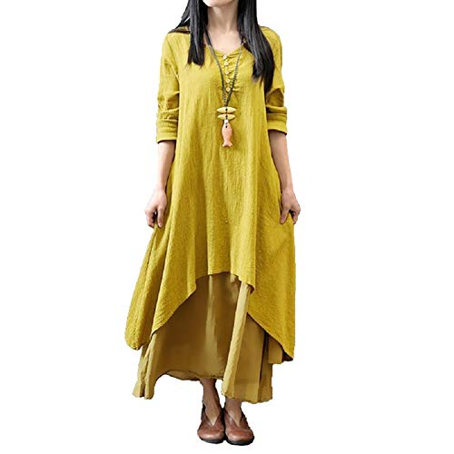 Romacci Women Boho Dress Casual Irregular Maxi Dresses Layer Vintage Loose Long Sleeve Linen Dress with Pockets,S-5XL Yellow]()