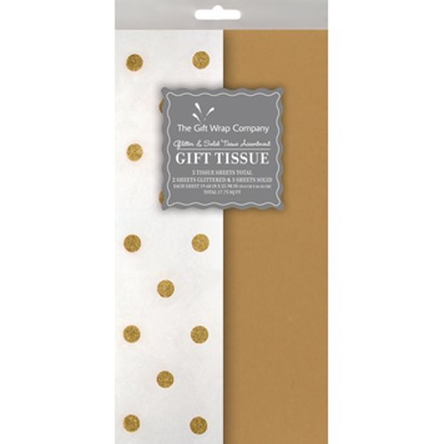 Dots Pattern Paper (The Gift Wrap Company Coordinated Glitter Dot Assortment Tissue, Gold)