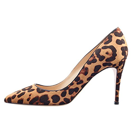 June in Love Women's Middle Heels Shoes Pointy Toe for Daily Usual Girls Lady Pumps Suede Leopard 8 US - Kid Suede Pumps