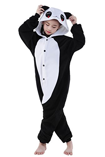 [Halloween Child Pajamas Animal Cosplay Costume Anime Makeup Partywear Jumpsuit Outfit-Red-tear Panda,125] (Red Panda Tail Costume)