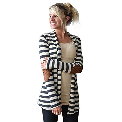Toimoth Women's Elbow Patch Shawl Collar Summer Striped Open Front Cardigan Sweaters Coat Outwear(White, ()