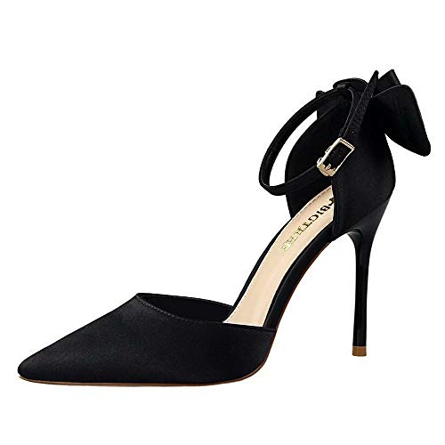 Wonvatu Wedding Shoes for Bride Women's High Heels Pumps with Bowknot Stiletto Ankle Strap Evening Party Dress Shoes Black ()