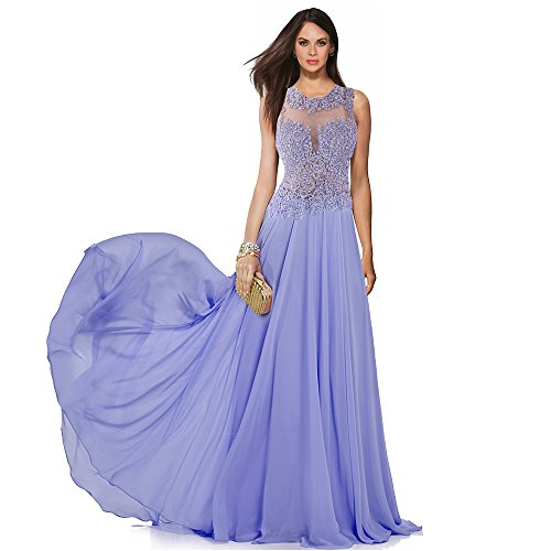 Sumintras A-Line High Neck Beaded Lace Prom Dress Beading Evening Gown Prom Formal Dress (8, lavender)