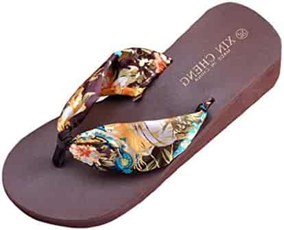 8676b9e887305 Shensee Women Summer Sandals Bohemia Floral Beach Sandals Flip-Flops Wedge  Platform Thongs Slippers