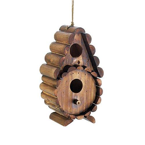 Log Birdhouse - Wood Birdhouse, Round Log Wooden Hanging Outdoor Rustic Decorative Bird House