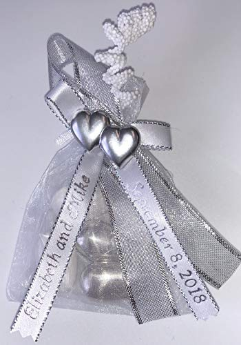 Unique Wedding Favors of Organza Bag with 5 Jordan Almonds, Personalized Ribbons & Double-Heart - Set of 10 Favors (Silver)
